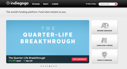 We made the Indiegogo homepage!